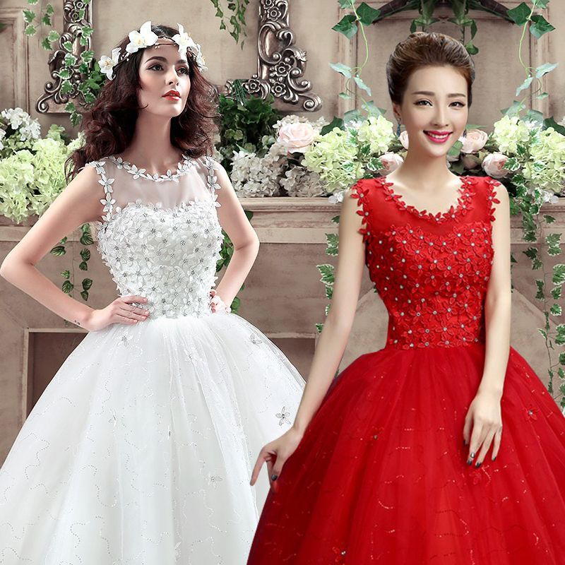 Wedding dress 2016 new bride big red shoulder wedding qi word shoulder wedding dress yarn korean slim yards