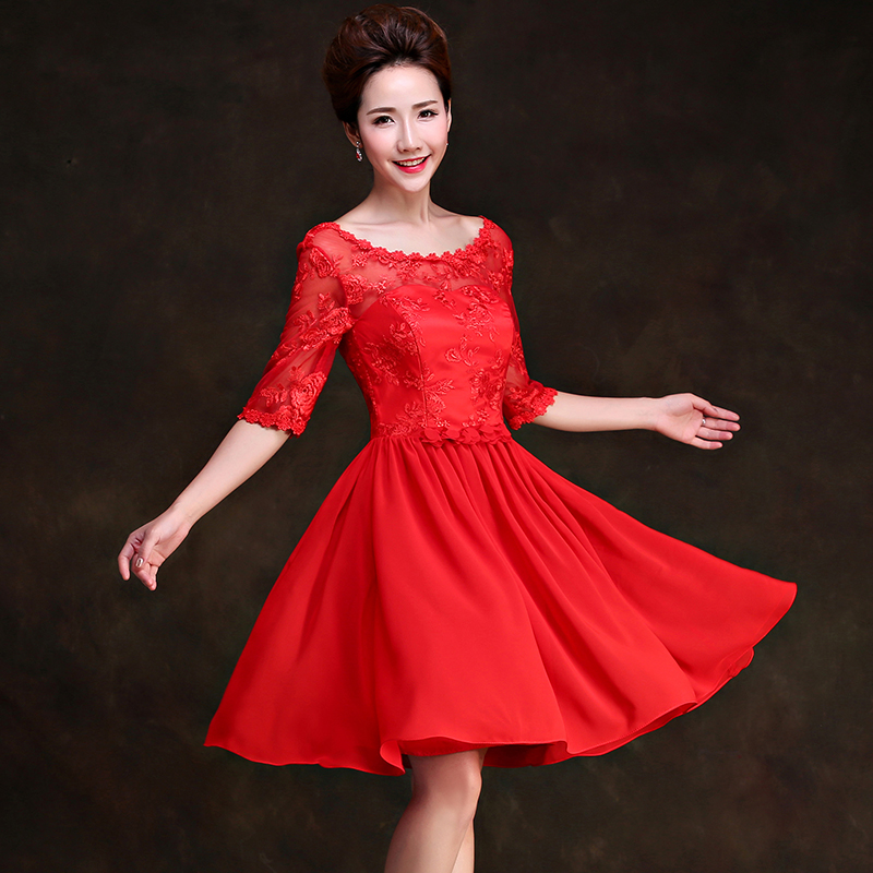 Wedding dress 2016 new bride toast clothing dress engagement dress banquet evening dress short paragraph sleeve dress female