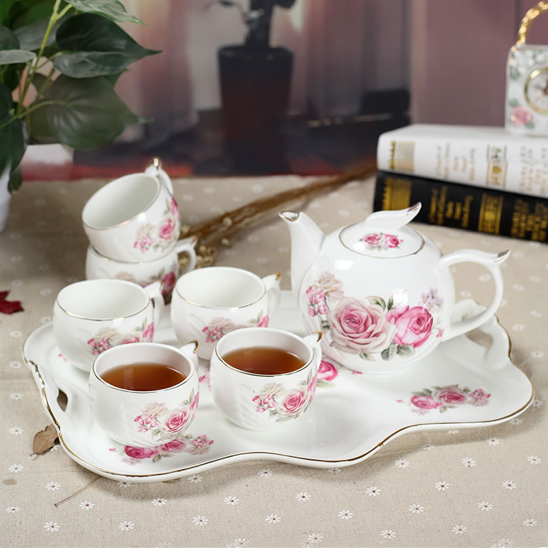 Wedding gifts european ceramic coffee cup tea set simple bone china teapot coffee set with tray