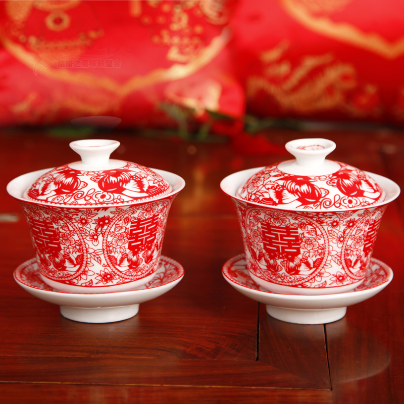 Wedding supplies hi hi bowl cup cups suit wedding supplies wedding gift festive red hi bowl bowl descendants cup