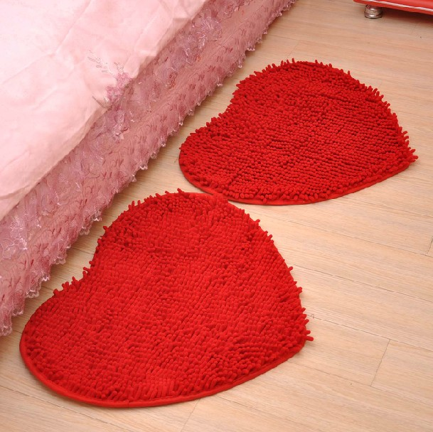 Wedding wedding supplies love shaped bedroom carpet mats doormat kitchen door mat bathroom absorbent mats slip bath room