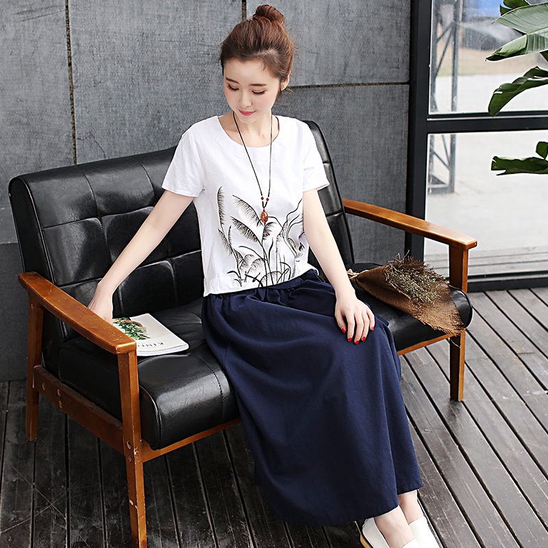 Week in and week wind color 2016 summer fresh literary retro piece leisure suit large size women cotton dress