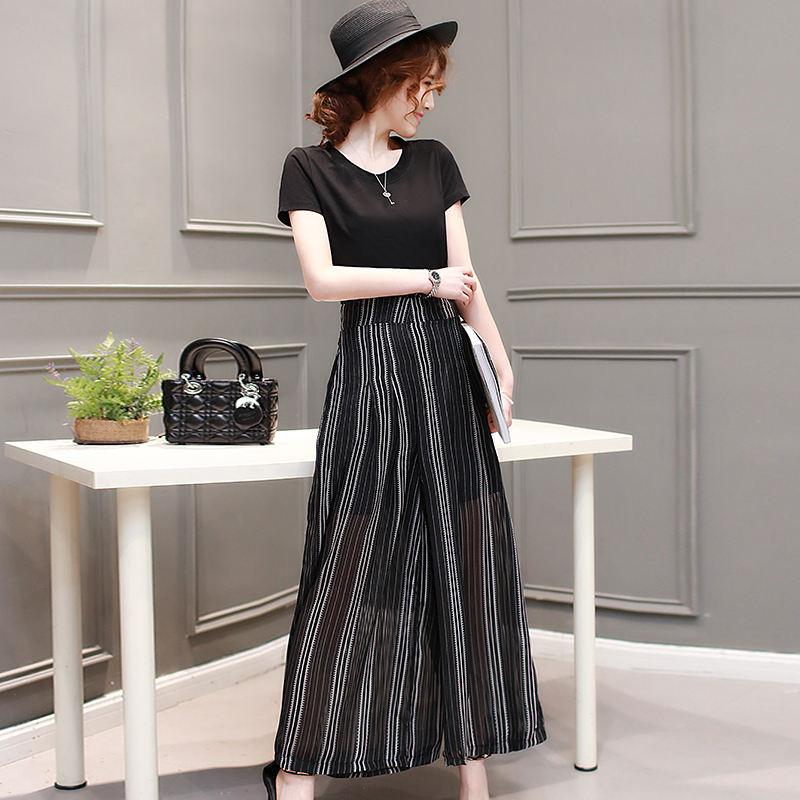 Week in and week wind color 2016 summer korean version of casual striped wide leg pants suit summer fashion piece suit chaps