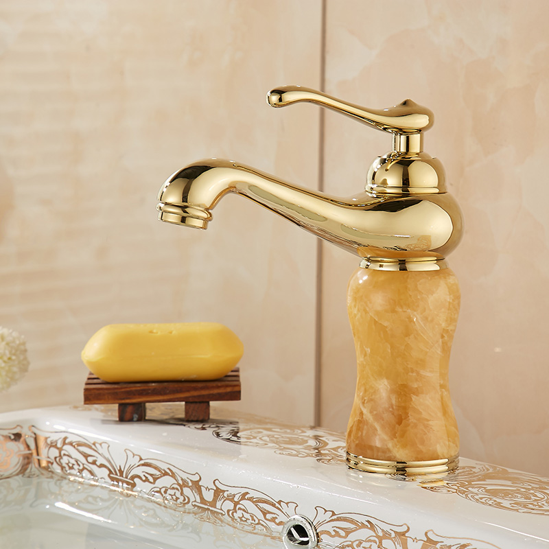 Wei jing jingdezhen ceramic bathroom basin washbasin hot and cold taps all copper zirconium gold jade lamp