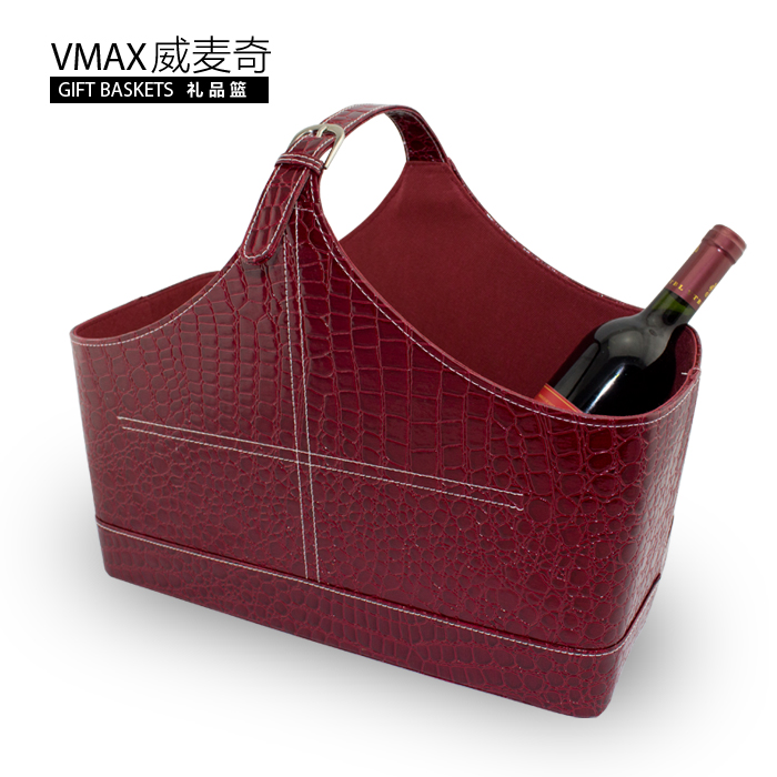 Wei maiqi moon cake gift basket basket burgundy crocodile creative fashion portable storage basket of fruit