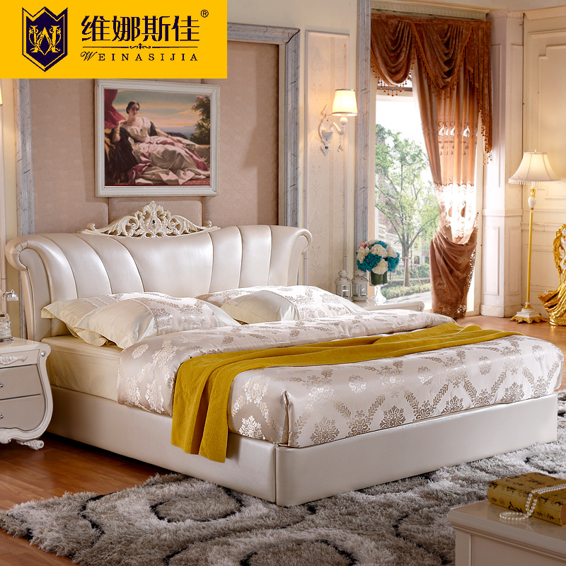 Wei nasi camry style first layer of imported leather bed double french bed wood bed continental bed garden bed 1.8 m 201