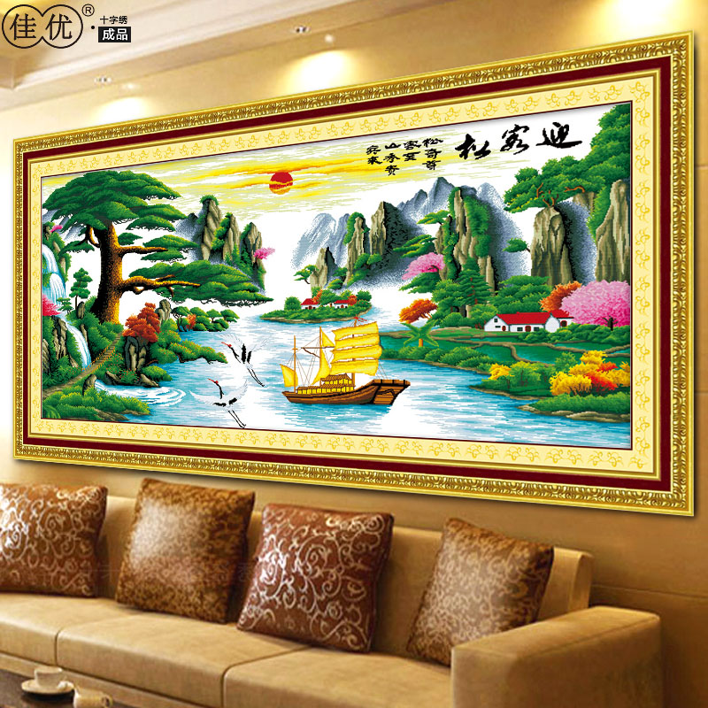 Welcoming pine finished cross stitch extra cash flowing water embroidery new living room large painting landscapes series