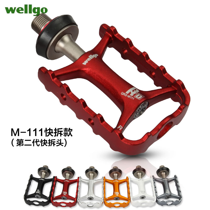 Wellgo m111 ludwig dead fly folding mountain bike pedals lightweight quick release foot pedal riding accessories