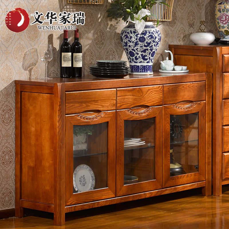 Wen hua jiarui all solid wood sideboard american ash wood lockers chinese rosewood furniture custom color