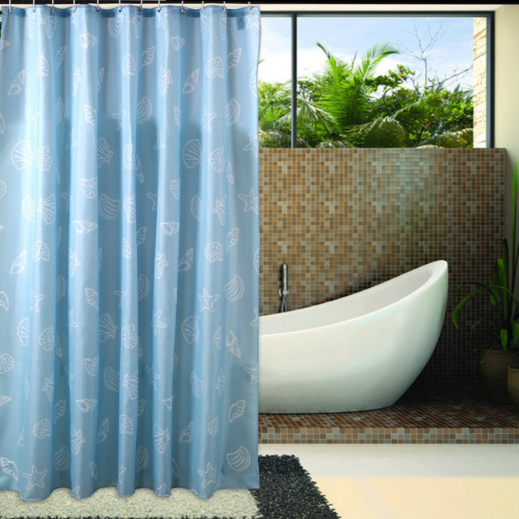 When cleaning the bathroom free shipping europe blue shell shower curtain shower curtain thick waterproof mildew shower curtain bathroom shower curtain free shipping
