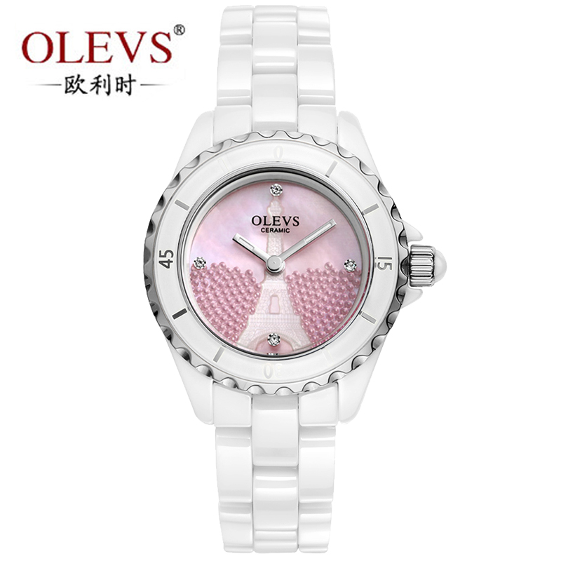 When the original orly genuine waterproof ceramic watch korean version of the thin diamond ladies watches white female table counter free shipping