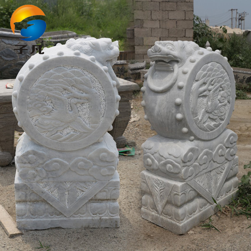 Where the sub archaized natural white marble carving marble stone carving stone lion head holding drum taohua-shimen frusta MD251