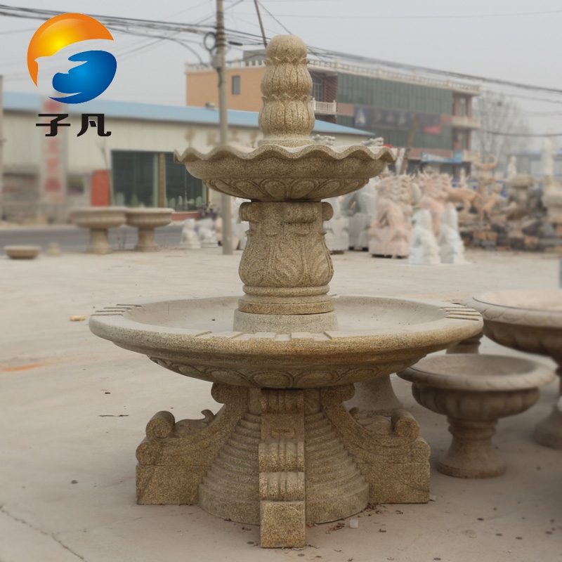 Where the sub yellow rust stone granite stone carving sculpture waterscape courtyard landscape waterfall fountain flowing water bowl PQ05