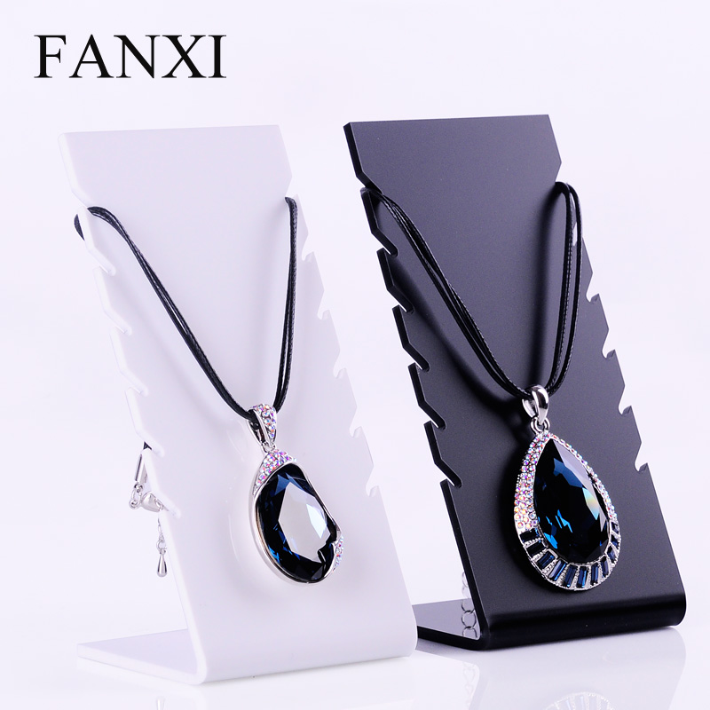 Where the west fanxi acrylic necklace display rack l type 6 jane porcelain white asian black sand single necklace board Props