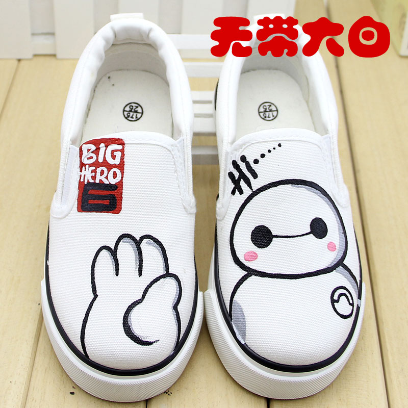White cartoon boys and girls shoes sneakers shoes in summer and autumn children canvas shoes loafers shoes sneakers shoes