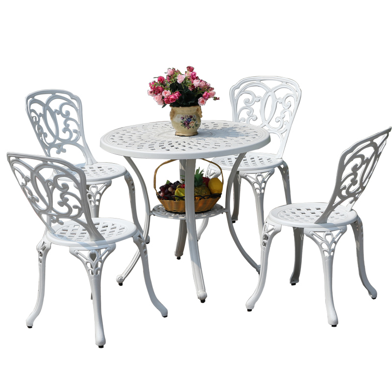 White cast aluminum outdoor tables and chairs suit korean preservative balcony tables and chairs outdoor patio chairs round table small apartment