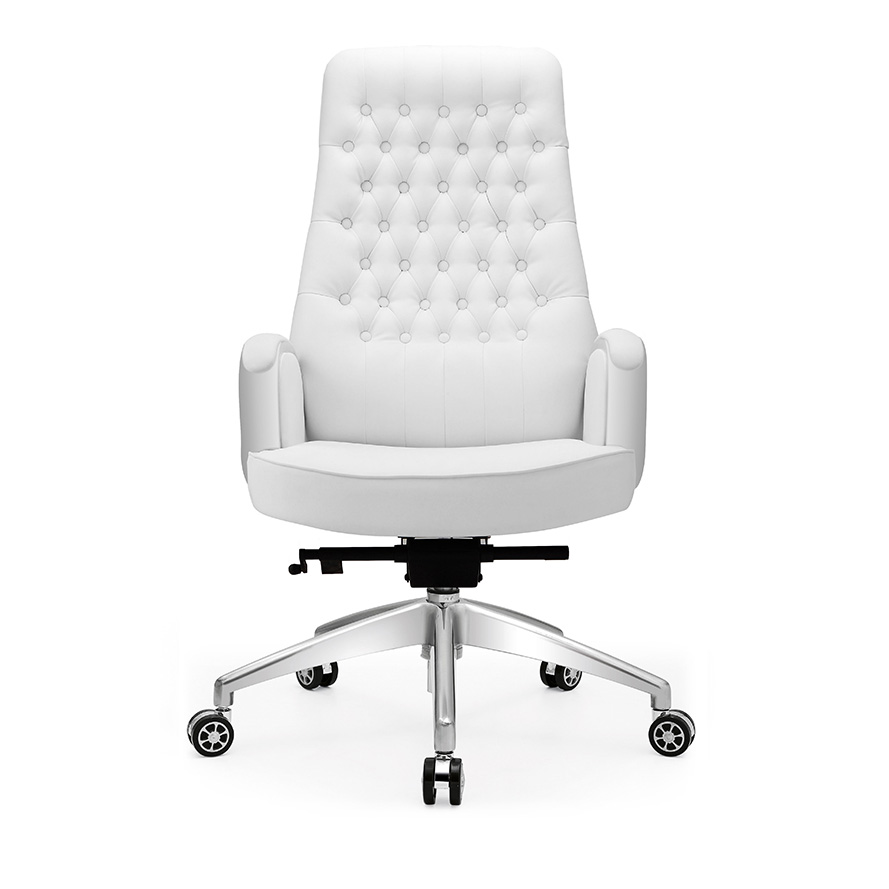 Get Quotations · White Leather Reclining Chair Boss Chair Computer Chair  Stylish Home Office Chair Ergonomic Chair Swivel Chair
