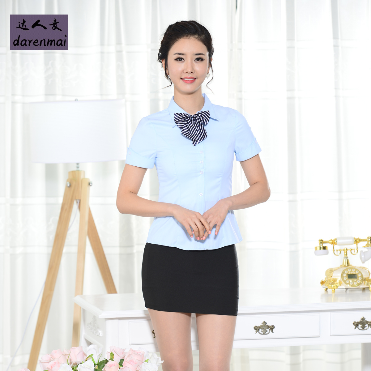 0fd11f4b87c9 White short sleeve shirt female summer korean slim inch cotton shirt  tooling wear overalls shirt to