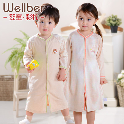 Will bayrou baby pajamas robe children tracksuit baby boys and girls children cotton nightgown spring and autumn