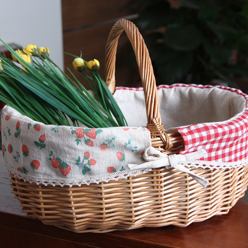 Willow wind portable basket storage basket storage baskets storage box box picnic basket shopping basket supermarket to buy
