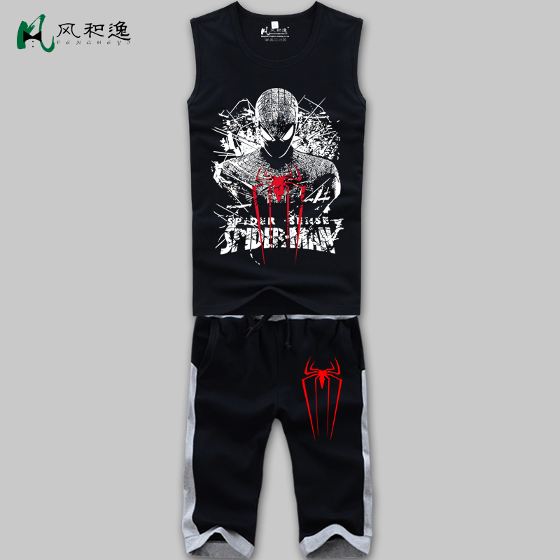 Wind and yi spider man short sleeve t-shirt summer men's short pants suit sleeveless vest sports and leisure tide