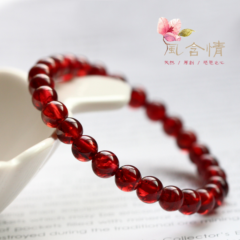 Wind feelings natural burgundy garnet bracelet female lap crystal bracelets fashion jewelry
