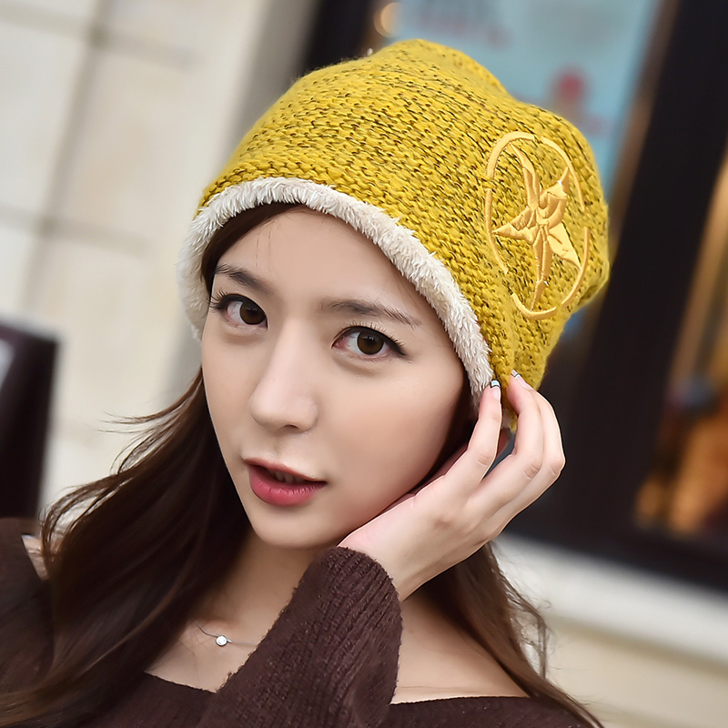 Winter hat female korean tidal pentagram printing new winter warm wool hat knitted hat lovers hat hedging