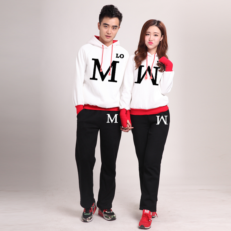 Winter lovers couple sets of upper and lower sets of korean version of the letter harajuku style sweater lovers fall and winter coat students