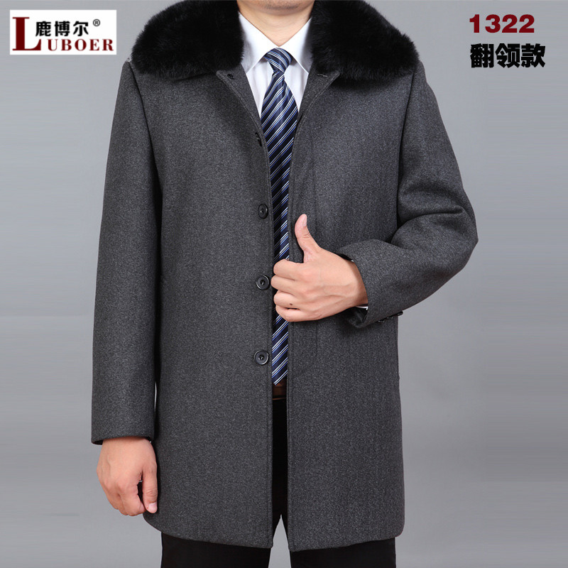 Winter models plus thick velvet middle-aged men in the long woolen coat male father fitted coat rex rabbit fur collar coat