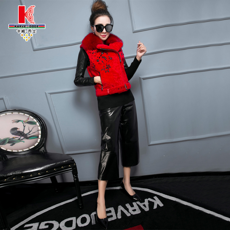 Winter new female lambs wool vest leather grass fox fur collar sheep shearing fur piece shorts suit