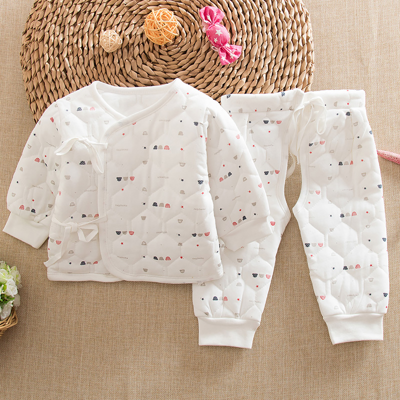 Winter newborn baby quilted thermal underwear sets baby born baby clothes suit thick cotton small cotton clothes