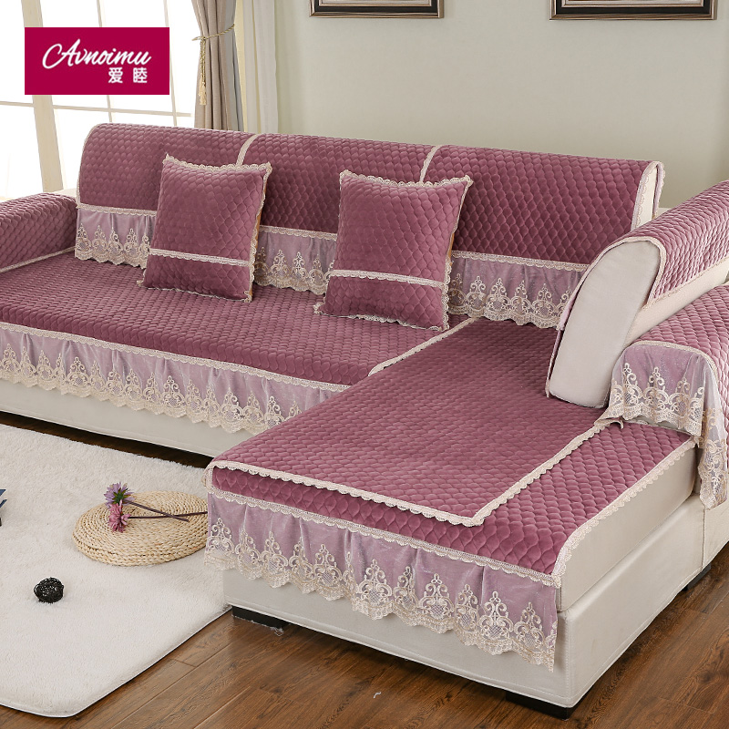 Winter plush sofa cushion fabric sofa backrest towel sets european lace slip sofa cushion cover minimalist modern custom