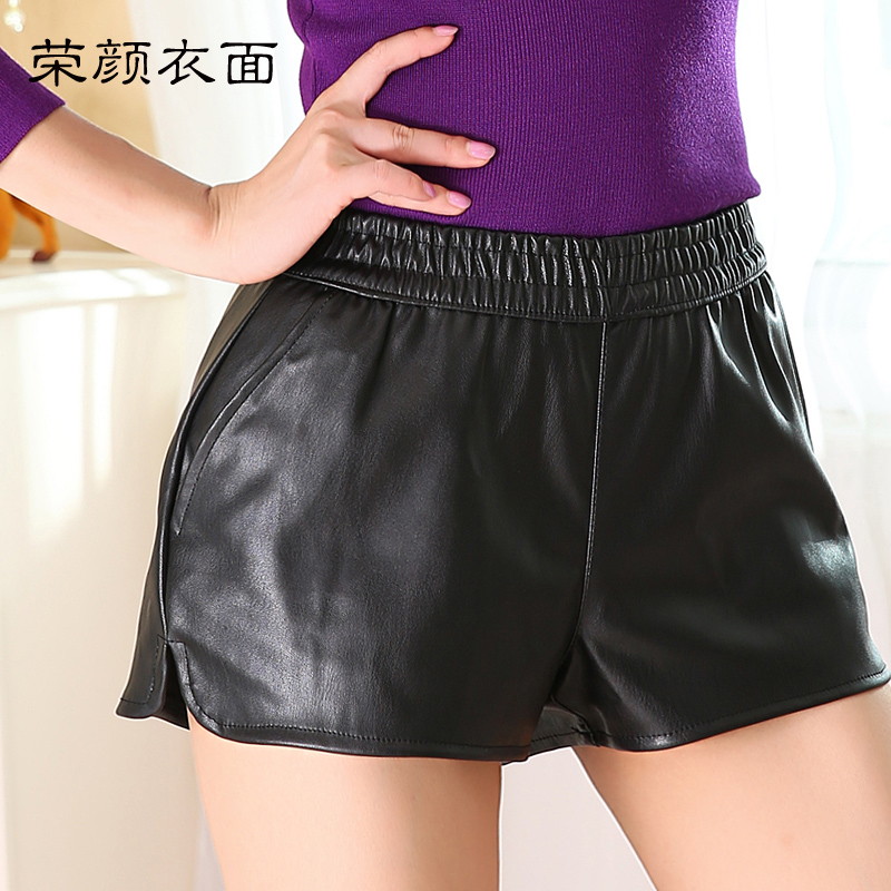 Winter simulation leather shorts a word wide leg shorts plus velvet matte pu leather was thin outer wear female four seasons can Wear