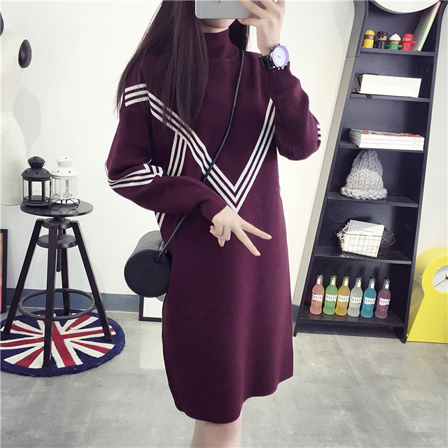 Winter sweater with high collar and a half thick and long sections hedging sweater autumn and winter korean pregnant women maternity coat pregnant women skirt