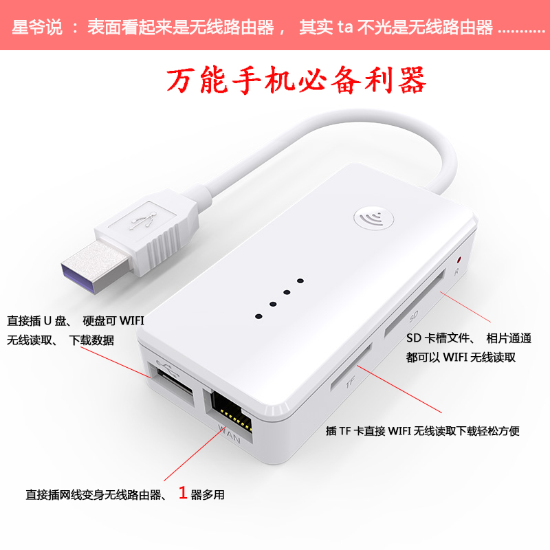 Wireless router wifi home office usb docking station card reader mobile phone portable wifi hard disk memory