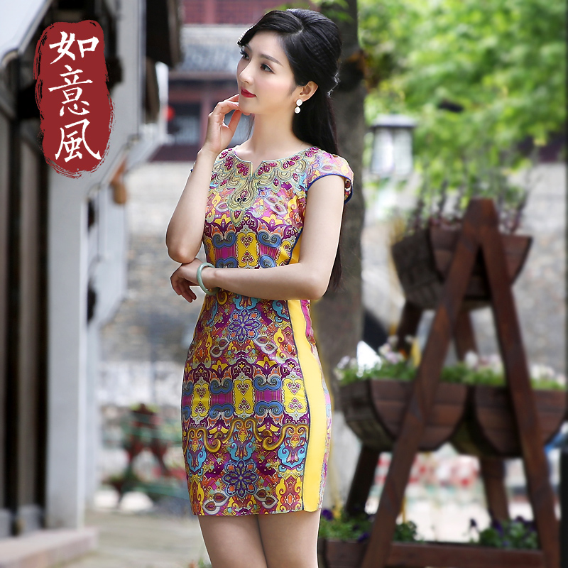 Wishful wind 2016 new summer short paragraph cheongsam dress round neck dress fashion improved cheongsam dress xiu body 6237