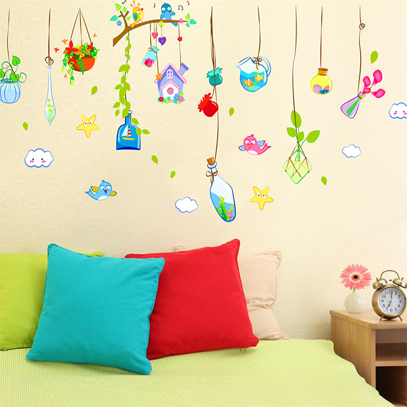 Wishing cartoon backdrop stickers living room bedroom children's room classroom layout ocean drift bottles decorative klimts
