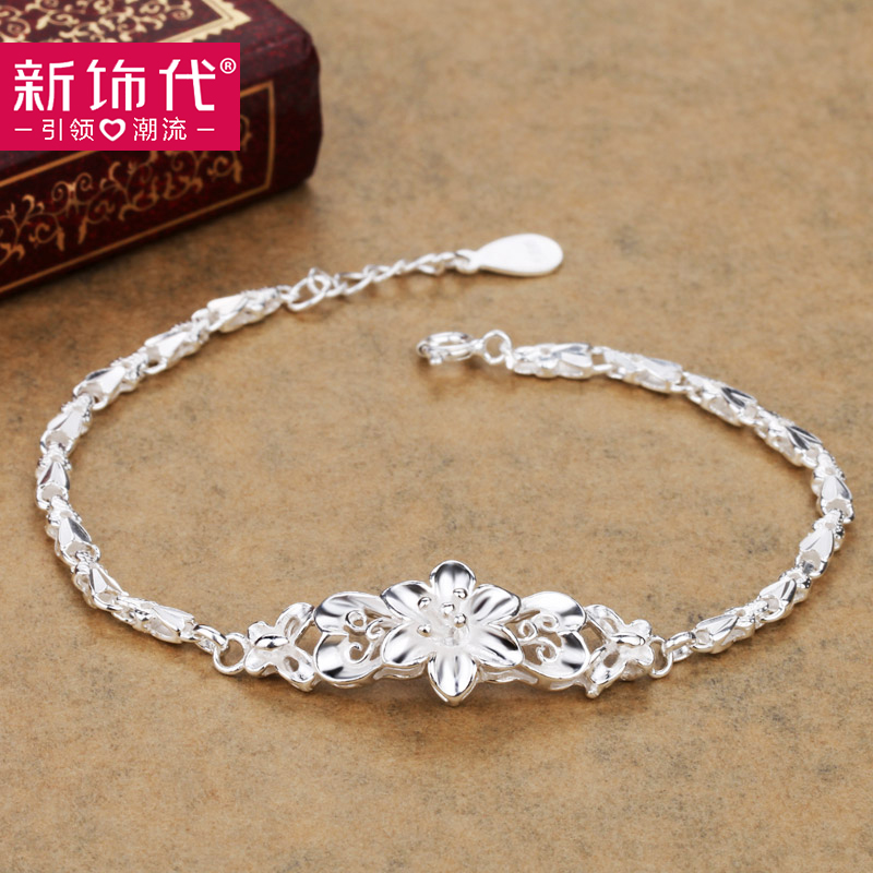 With a certificate ms. butterflies s999 fine silver sterling silver bracelet female korean silver bracelet birthday gift
