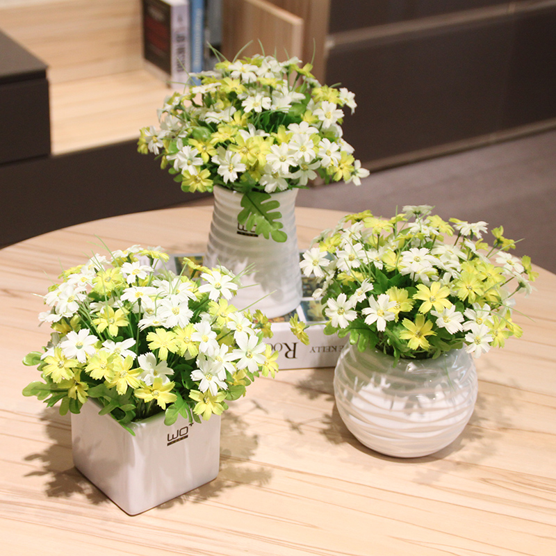 Wo + artificial flowers artificial flowers australia chrysanthemum ceramic vase living room table floral suit home decoration