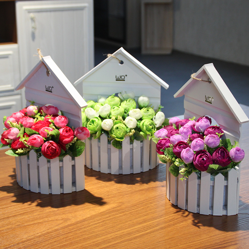 Wo + fence daisy chrysanthemum suit small floral wall hanging basket flower orchids artificial flowers decorate the wall wall
