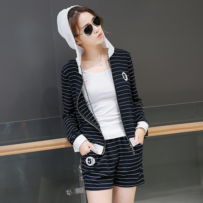 Women korean version of the little shorty autumn new casual sports suit fashion sports suit slim
