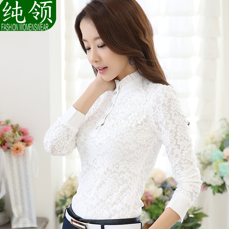 c78d6e84ed5 Get Quotations · Women lace bottoming shirt female 2016 spring new thick  long sleeve turtleneck ms. white shirt