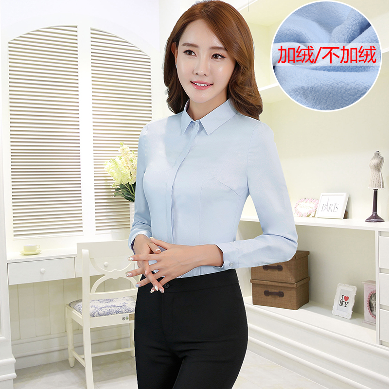 Women wear a white shirt ol women dress women long sleeve autumn and winter large size tooling work clothes plus velvet warm shirt