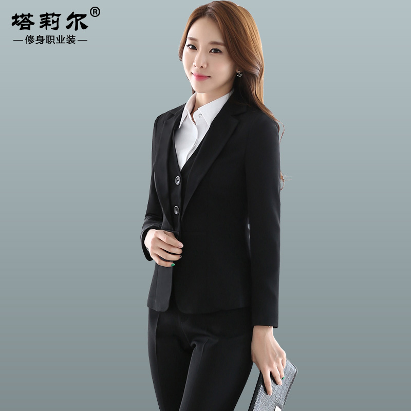 Women wear skirt suits three sets long sleeve temperament female career suits overalls female suit overalls bank