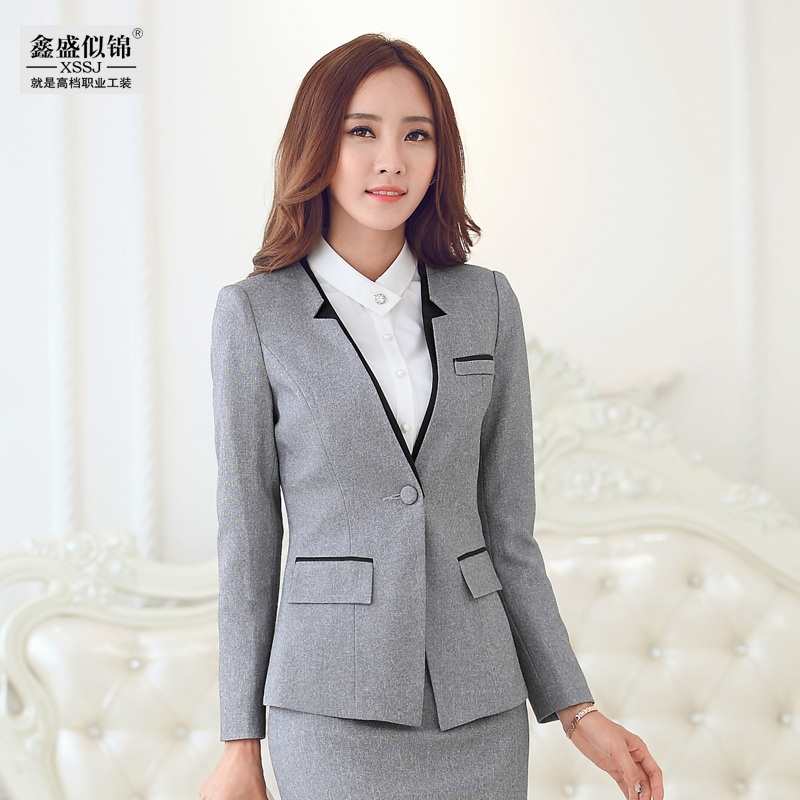 Women's autumn and winter wear suits chaps ol reception sleeved suit slim interview dress overalls jewelry store
