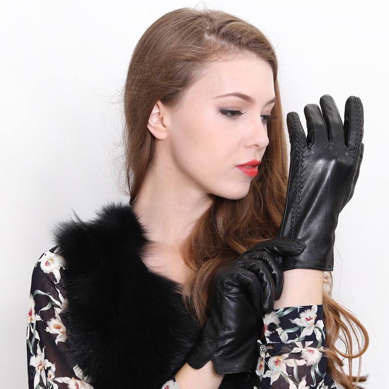 Women's leather gloves touch gloves leather gloves thick warm sheepskin gloves lady winter gloves points finger thin