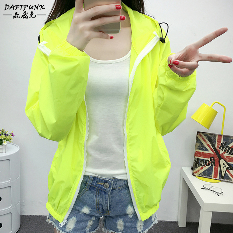 Women's long sleeve thin sun protection clothing fluorescent color sun protection clothing coat conventional korean version of the big yards windbreaker skin skin coat sun shirt