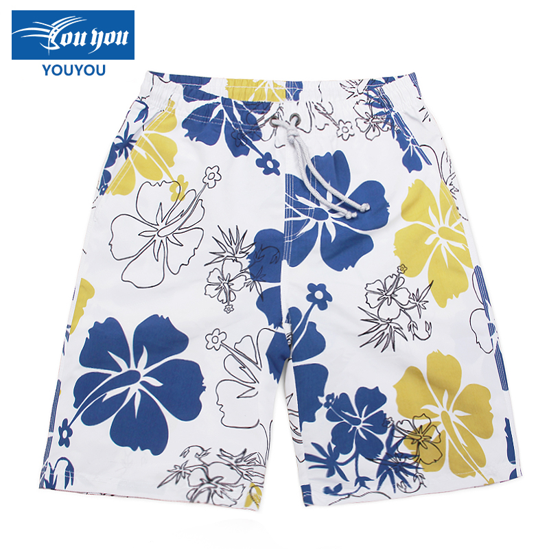 Woo swim beach pants men's professional men's loose big yards korean version of the influx of new men's casual shorts fifth swim trunks swimming trunks seaside resort spa