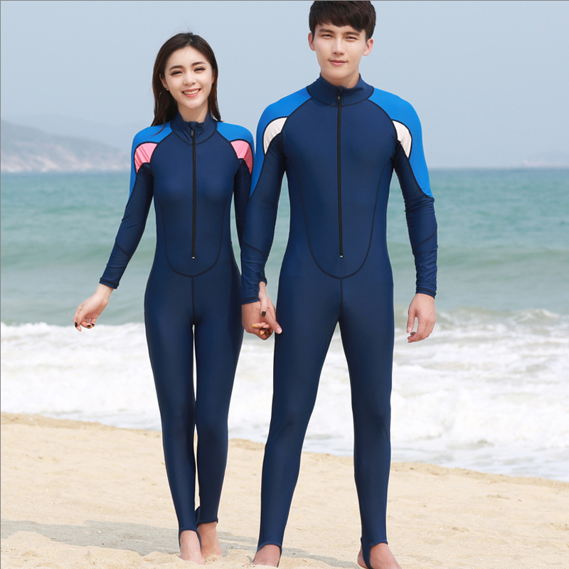 Woo swim swimsuit female couple models long sleeve wetsuit sunscreen swimsuit piece swimsuit male snorkeling clothing jellyfish clothing surfing