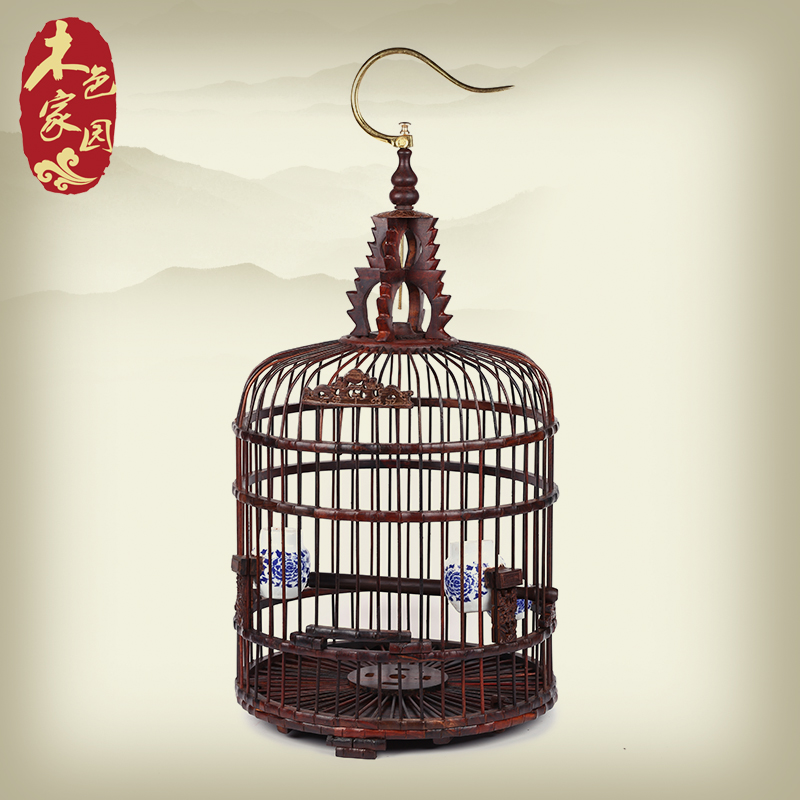Wood color home exquisite mahogany red wood thrush bird cage parrot cage starling mahogany wood ornaments